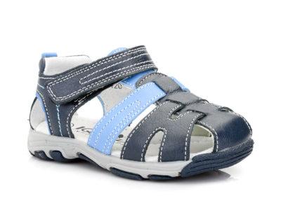 Αγορίστικα δερμάτινα ανατομικά καλοκαιρινά παπουτσάκια IQ KIDS BASIL-120 BLUE