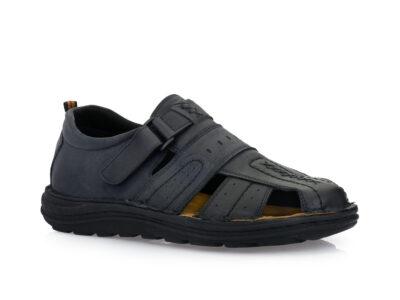 Ανδρικά δερμάτινα ανατομικά παπουτσοπέδιλα GALE 365069 BLACK