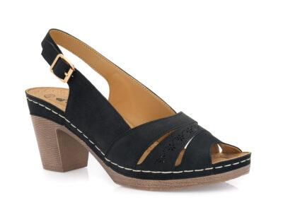 Γυναικεία καλοκαιρινά πέδιλα με τακούνι BLONDIE 31/243 BLACK