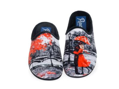 Γυναικείες χειμερινές υφασμάτινες παντόφλες PAREX 10124243 BLACK