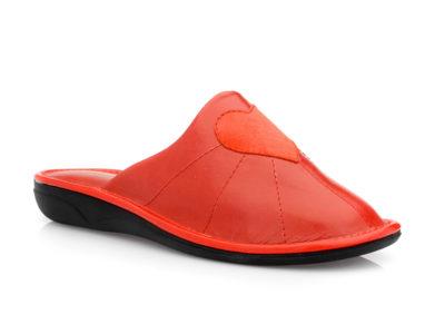 Γυναικείες δερμάτινες ανατομικές παντόφλες AEROSOFT 260 RED