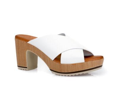 Γυναικείες δερμάτινες ανατομικές παντόφλες με τακούνι VALERIA'S 5205 WHITE