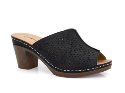 Γυναικείες καλοκαιρινές παντόφλες εξόδου με τακούνι BLONDIE 31/163 BLACK