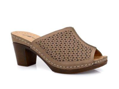 Γυναικείες καλοκαιρινές παντόφλες εξόδου με τακούνι BLONDIE 31/163 BRONZE