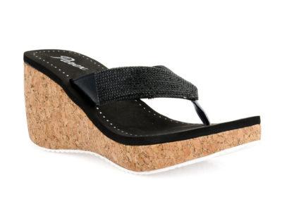 Γυναικείες καλοκαιρινές παντόφλες πλατφόρμες PAREX 11717055 BLACK